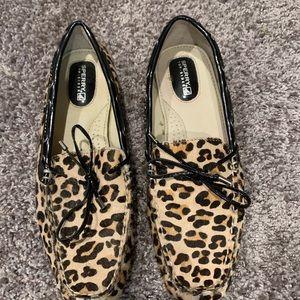 Sperry Leopard furry dress loafers